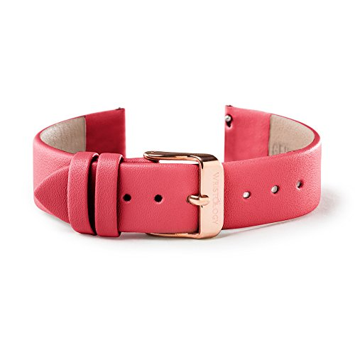 WRISTOLOGY 18mm Womens Raspbery Red Leather Easy Change Interchangeable Strap Band (Rose Gold)