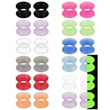 Ruifan 12 Pairs Ultra Thin Silicone Ear Skin Flexible Flesh Tunnel Expander Stretching Gauge Earlets Plug Set Mix Color Gauges Kit 00G