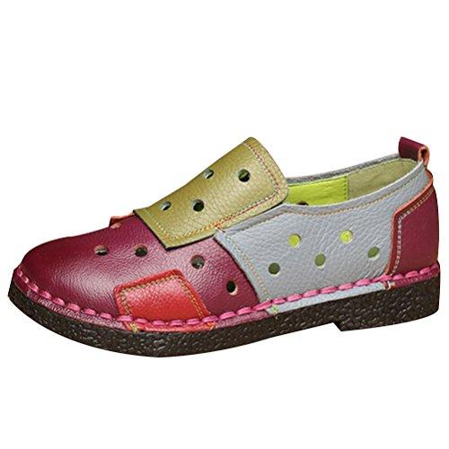 Vogstyle Damen Slipper Mokassins Kontrastfarbe Höhle Freizeitschuhe Handgemachtes Schuhe Style 1 Rot