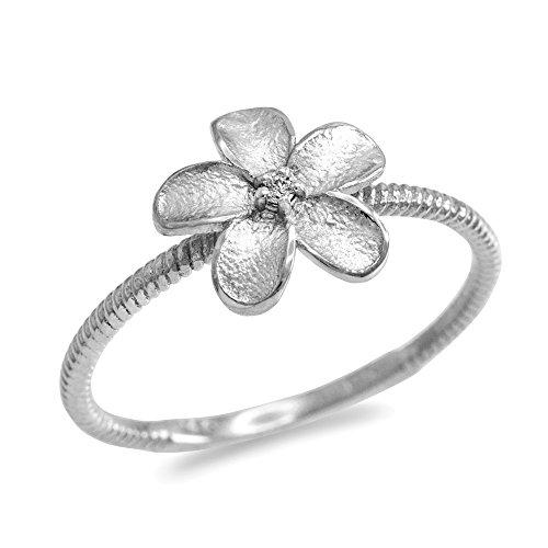 (10k White Gold Solitaire Diamond Rope Band Hawaiian Plumeria Flower Ring (Size 6))