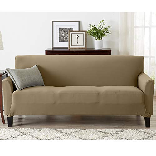 Great Bay Home Form Fit, Slip Resistant, Strapless Slipcover Includes Bonus Lint Roller. Furniture Protector Featuring Super Soft Jersey Knit Fabric. Seneca Collection (Sofa, Warm Sand)
