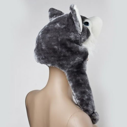 BUYEONLINE Animal Wolf Fluffy Warm Hat Cap With Earmuff Scarf-Gray And White