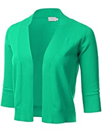 Womens Classic 3/4 Sleeve Open Front Cropped Cardigan (S-XL)