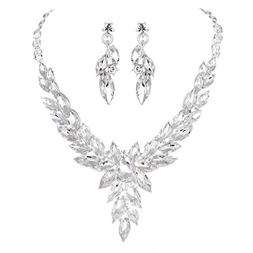 Youfir Crystal Necklace Earrings Jewelry Sets for Bridal Bridesmaids Wedding Party(Clear)