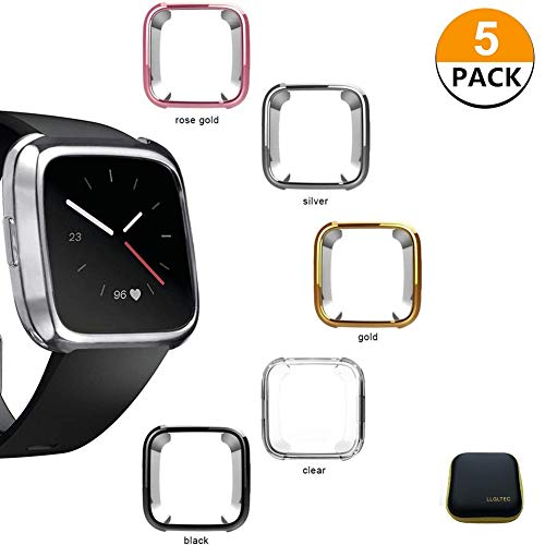 5 Packs Compatible Fitbit Versa Case, Fitbit Versa Screen Protector Case-Soft TPU Plated Case Full Protective Bumper Shell Cover Compatible Fitbit Versa Smart Watch (5 Packs+1Package) -