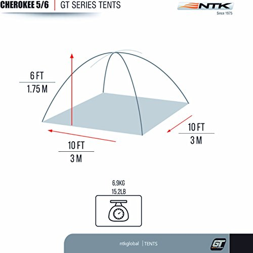NTK Cherokee GT 5 to 6 Person 9.8 by 9.8 Foot Outdoor Dome Family Camping Tent 100% Waterproof 2500mm, Easy Assembly, Durable Fabric Full Coverage Rainfly - Micro Mosquito Mesh for Maximum Comfort. by NTK (Image #2)