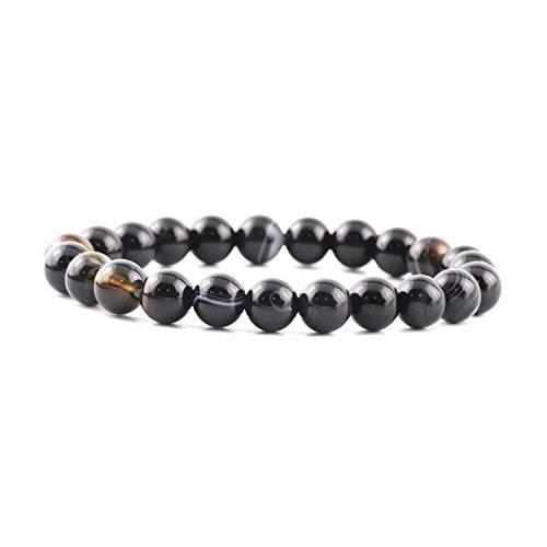 ne Bracelet Precious Gemstones Birthstone Elastic Beaded Bracelets 6mm 8mm 10mm 12mm Round Beads Stretch Bracelet 6-7 Inch Unisex (8MM, Black Banded Agate) (Black Banded Agate Gemstone)