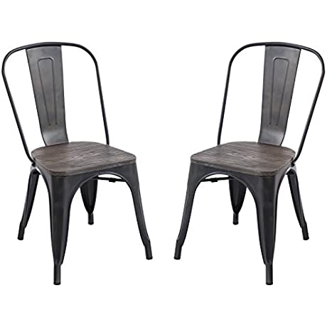 Poly And Bark Tolix Style Bistro A Dining Side Chair With Elm Wood Seat Set Of 2 Bronze
