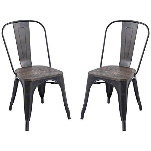 Cheap  Poly and Bark Trattoria Side Chair with Elm Wood Seat in Bronze..