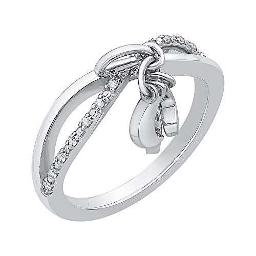 KATARINA Diamond Infinity Intertwined Moon and Star Ring in Sterling Silver (1/10 cttw, J-K, SI2-I1) - Moon Setting Ring Diamond Engagement
