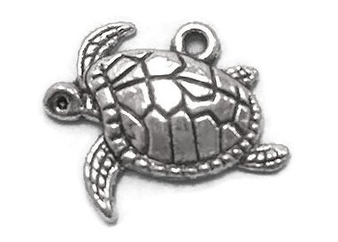 20 Sea Turtle Charms silver tone (Turtle Earrings Charm)
