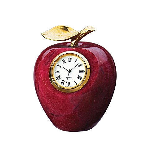 Marble Apple Clock Paperweight with Gold Leaf