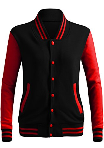 Review CLOVERY Women's Varsity Letterman Long Sleeve Jacket BLACKRED XL+