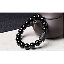 VNDEFUL Men 12MM Natural Crystal Obsidian Bracelet Dragon And Phoenix Totem Bracelet Crystal Ornaments.