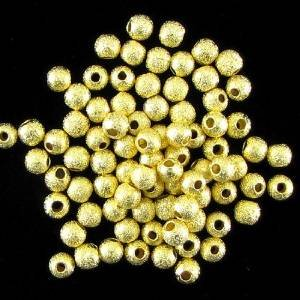 Beautiful Bead 4mm Gold Plated Stardust Sparkle Round Beads for Bracelets DIY Jewelry Making (About 50pcs )
