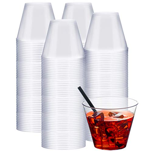 9 Ounce Coffee Cup - NYHI Clear Plastic Cups (9-Ounces, 200 Pack) | Premium Heavy Duty Disposable Cups That Won't Crack, Break or Leak | Plastic Party Cup Tumblers for Birthdays, Weddings, Halloween, Wine, Cocktails