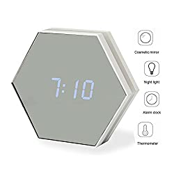Multi-function Alarm Clock,Chicheng Rechargeable Dimmable led Night Light,Desk Clock,Alarm Clocks,temperature display,mirror for travel, travel school work (White)