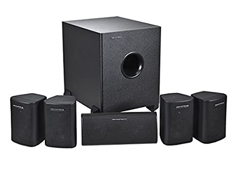 Monoprice 108247 5.1-Channel Home Theater Speaker System, Six (Subwoofer And Center Speaker)