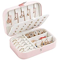 gofh Earring Ring Jewelry Display Storage Box Case Organizer Flannel Tray Holder Gift, 6.5x4.5x2.2In(Pink)