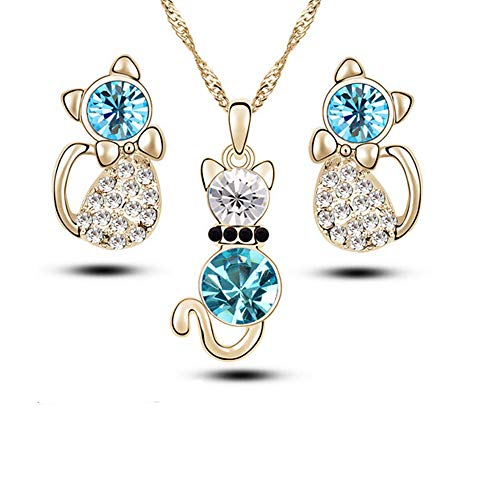 Tcplyn Premium Quality 4 Pcs Fashion Zircon Crystal Cat Necklace Animal Earrings Jewelry Set, Silver blue