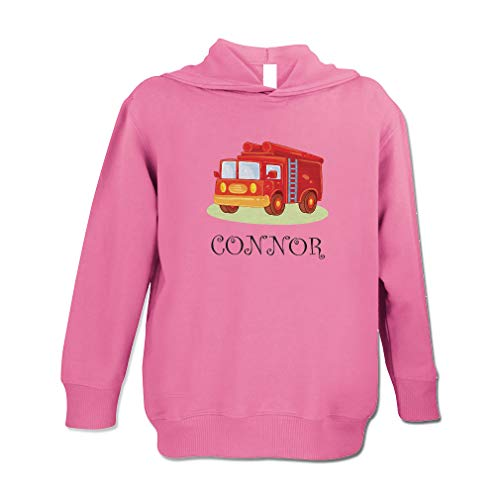 Personalized Custom Future Fire Fighter Truck Kids Long Sleeve Hooded Neck Boys-Girls Toddler Fleece Pullover Hoodie - Hot Pink, ()