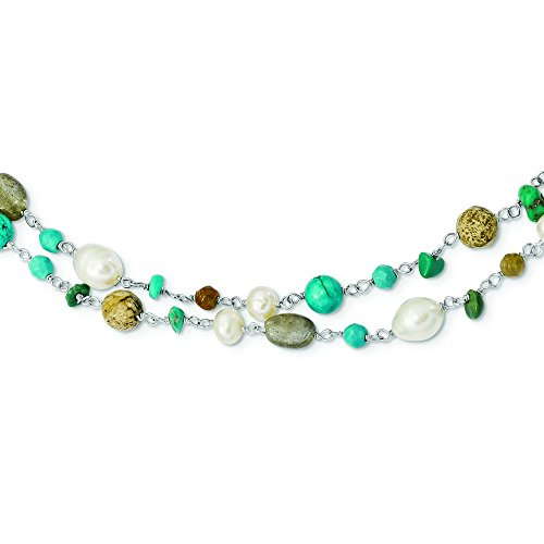7.5mm Sterling Silver Fwpearl Labradorite Jasper Recon. Magnesite Turq Unikite Necklace - 56.5 Inch by JewelryWeb