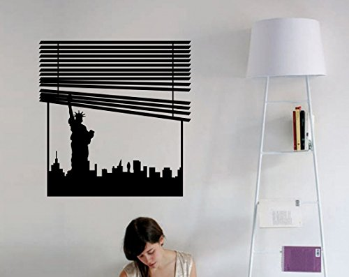 New York Skyline Window Blinds Vinyl Wall Decal - Statue of Liberty Silhouette Wall - Silhouette Liberty Lady