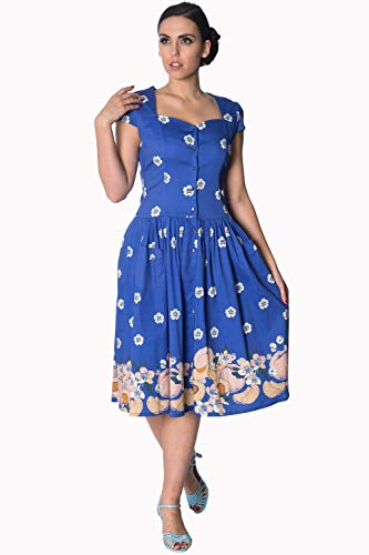 Plus Fruity Banned Ärmeln Blau Tutti Kleid Size BggxEnq
