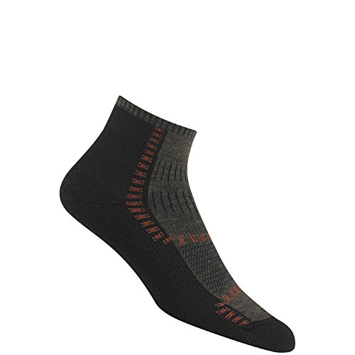 Wigwam Men's / Women's Wool Dri-Release Trail Trax Pro Quarter Socks, Pair, Black, LG