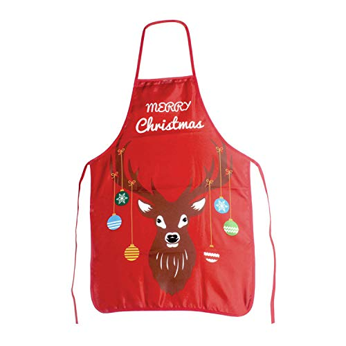 SINGARE Chistmas Kitchen Apron, Christmas Apron, Pixie Style Adult Kitchen Apron for Christmas Party Chef Cooking Restaurant House Cleaning Gardening Home-Red