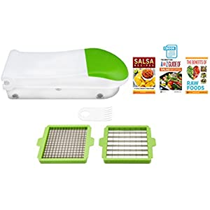 Brieftons QuickPush Food Chopper: Onion Chopper, Vegetable Slicer Dicer, Fruit and Cheese Cutter, with 3 Bonus Recipe…