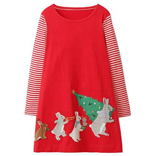 Little Girls Dress Casual Cotton Kids Unicorn Appliques Striped Jersey Dress (4T, ()
