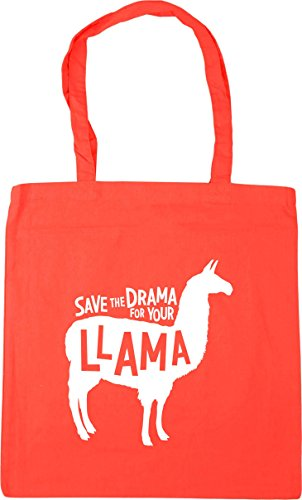 x38cm Tote Drama 10 litres Bag Save HippoWarehouse Your Gym the Beach Shopping Llama 42cm Coral for w7fqSY