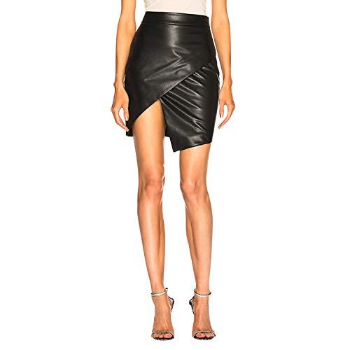 olinase Women PU Leather Skirt Wrap Mid Waist Mini Dress Asymmetric Hem A Line Black US 2=Tag M