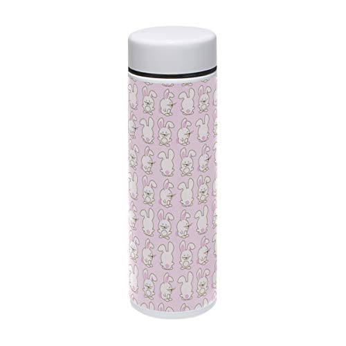 20 Oz Tin One - Thermos Pink Bunny Pattern Insulated Stainless Steel Water Bottle Double Wall Travel Coffee Mug Personalized DIY 7 oz/220ml