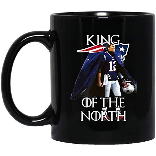 (Tom Brady New England Patriots 12 King of the North 11 oz. Black Mug Coffee/Cocoa Mug & Tea Cup Gift Pretty Best Gift for Birthday Easter Christmas for Son.)
