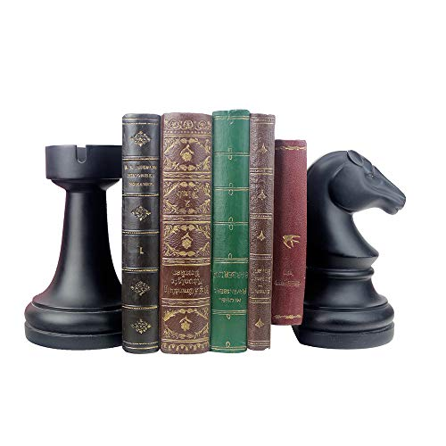 jinhuoba Bookend Supports, Decor Book Ends -Supports for Heavy Books, Home Decor Suitable for Office, Home, 6.7x4.1x3.5inch, Black,1Pair/2Piece (Chess bookend)