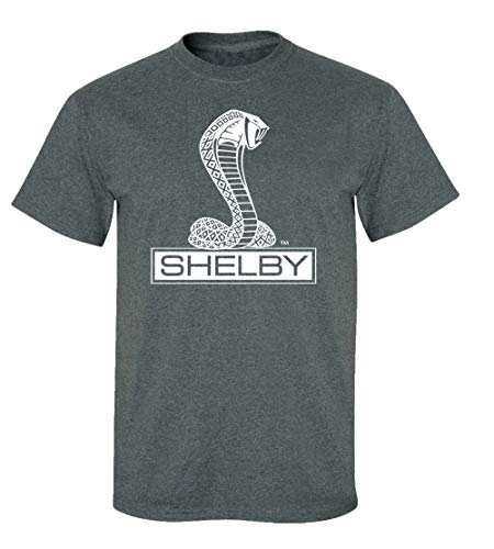 Ford Shelby Cobra Car T-Shirt Adult Men's Short Sleeve-Heather Gray-Large