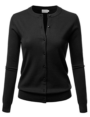 LALABEE Women's Crew Neck Gem Button Long Sleeve Soft Knit Cardigan Sweater Black S