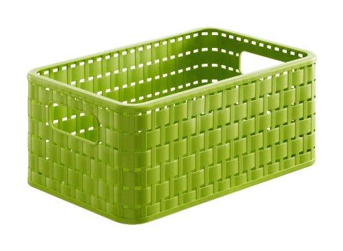 Rotho 1115205519 Aufbewahrungskiste Dekobox Country in Rattan-Optik aus Kunststoff (PP), Format A5, Inhalt ca. 6 l, ca. 28 x 18.5 x 12.6 cm (LxBxH), grün