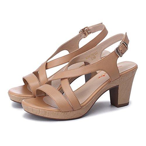 Grueso Con Tacones De Plataforma En El Verano/Cross Hebilla De Cuero Sandalias Mujer B