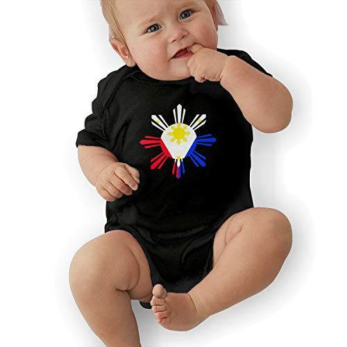 Short Sleeve Cotton Bodysuit for Unisex Baby, Cute Philippine Sun Flag Crawler -