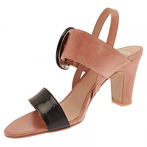 Perlato Low Heel Ankle Strap Sandal Tan