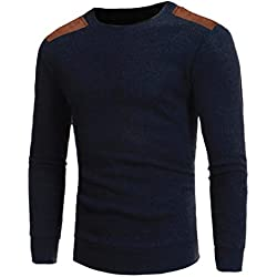 Mens Shirt,Haoricu 2017 Clearance Man's Fashion Round Neck Patchwork Slim Fit Sweaters Casual Boys Tops Blouse (L, Navy)