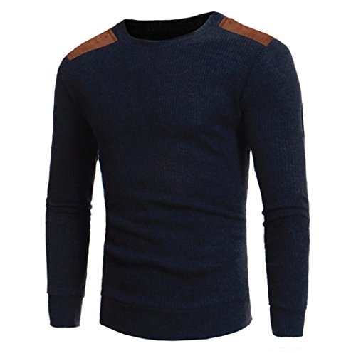 Mens Shirt,Haoricu 2017 Clearance Man's Fashion Round Neck Patchwork Slim Fit Sweaters Casual Boys Tops Blouse (M, Navy)