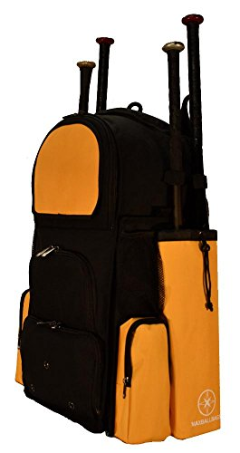 New Design Large Vista L in Black and Athletic Gold Adult Softball Baseball Bat Equipment Backpack with Innovative Removable Bat Sleeves and Embroidery Patch by MAXOPS