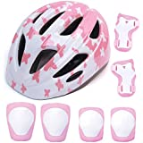 aomigell Kids Helmet Girls Bike Helmet Child Helmet with Outdoor Sports Protective Gear Safety Pads Set Knee/Elbow/Wrist Pads for Bicycle, Rollerblades, Scooter, Skateboard, Rollerblades(5-8Years Old)