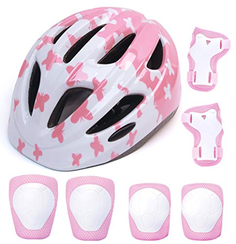 aomigell Kids Helmet Girls Bike Helmet Child Helmet with Outdoor Sports Protective GearSafety Pads Set Knee/Elbow/Wrist Pads for Bicycle, Rollerblades, Scooter, Skateboard, Rollerblades(3 Years Old)