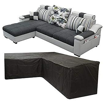 Silvotek Funda para sofá en Forma de L - Funda Sofa esquinero en Forma de L con Cuerdas de apriete en la Parte Inferior,210D Funda para sofá en L (L ...