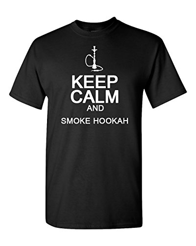 Imall Men's Keep Calm and Smoke Hookah T-Shirt Small Black